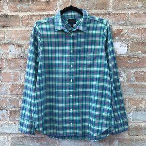 J. Crew Boy Shirt Green Blue Plaid Flannel Button
